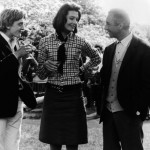 "Photo: British actress Vanessa Redgrave, chosen Actress of the Year by the Cannes Film Festival jury, is seen celebrating the award on location at Maryon Park, Woolwich, London, for her new film, ""The Blow Up"", May 20, 1966. Toasting her success with champagne are her co-stars David Hemmings, left, and Italian director, Michelangelo Antonioni. Miss Redgrave, daughter of actor Sir Michael Redgrave, won her best actress award for her performance in ""Morgan – A Suitable Case For Treatment."" (AP Photo) Date: 20/05/1966"
