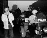 Michelangelo ANTONIONI, Italian movie director. in chicago - USA. Chicago, Illinois. 1968. Michelangelo ANTONIONI during the riots outside the Democratic Convention. - Bruce Davidson USA. Chicago, Illinois. 1968. Michelangelo ANTONIONI during the riots outside the Democratic Convention.