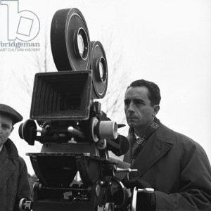 Michelangelo Antonioni during the filming of 'Il grido', Ferrara, 12th February 1956 (b/w photo)