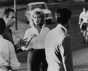 Director Michelangelo Antonioni, Monica Vitti with Alain Delon in L'eclisse, 1962