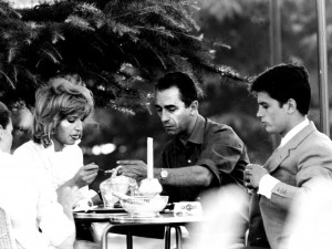 onica Vitti, Director Michelangelo Antonioni with Alain Delon on the set of L'eclisse, 1962