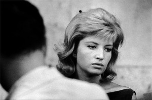 Monica Vitti on the set of L'eclisse directed by Michelangelo Antonioni, 1962.